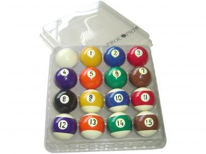 Jogo de Bola de Sinuca Numerada 54mm Procópio 3135 - 16 Unidades