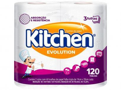 Papel Toalha Folha Tripla Kitchen Total Absorv - 2 Unidades