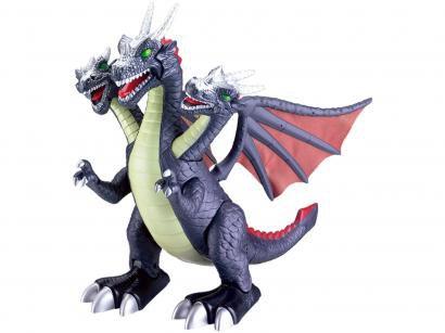 Dragão de Brinquedo 3 Cabeças - Emite Som e Luz Art Brink