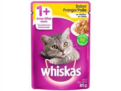Ração Úmida para Gato Adulto Sachê - Whiskas Frango ao Molho 85g