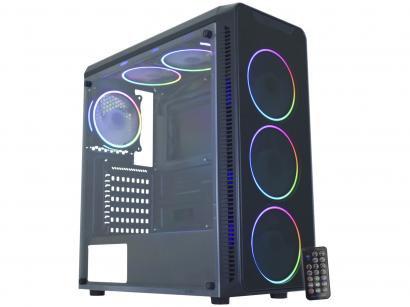 Gabinete Gamer K-Mex Infinity Streamer 2 CG-09G8 - RGB ATX 6 FANs Preto