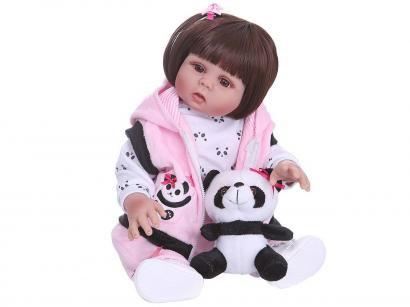 Boneca Reborn Pelúcia 45cm com Acessórios - Laura Baby