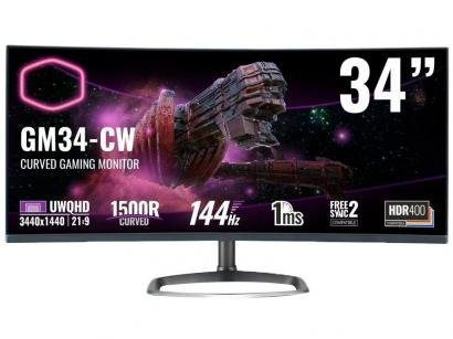 "Monitor Gamer Cooler Master GM34-CW 34"" LCD Curvo - Ultrawide Quad HD HDMI 144Hz 1ms FreeSync"