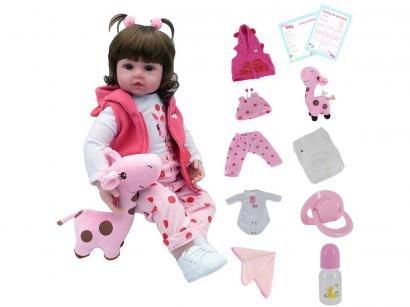 Boneca Reborn Mini Valentina Girafinha - 45cm com Acessórios Laura Baby
