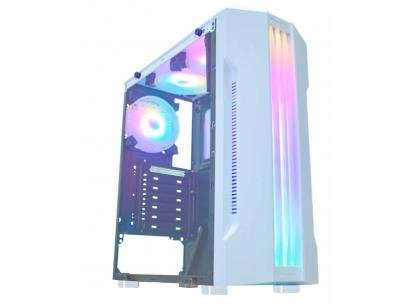 Gabinete Gamer K-Mex Bifrost White CG-04Q1 - RGB ATX 5 FANs Branco