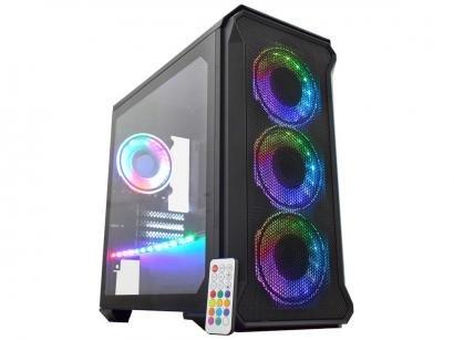 Gabinete Gamer K-Mex Exterminador CG-99RP - RGB ATX 6 FANs Preto