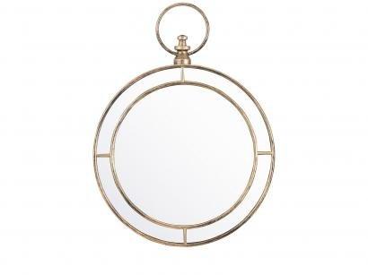 Espelho Decorativo Redondo com Moldura de Parede - Ouro Velho 59x44cm Inova Nordic