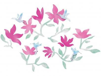 Adesivo Decorativo 3D Natureza PVC e EVA Adesif - Beija-Flor