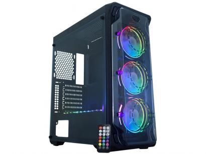 Gabinete Gamer K-Mex Dark Trooper Rítmico CG-05B1 - RGB ATX 8 FANs Preto