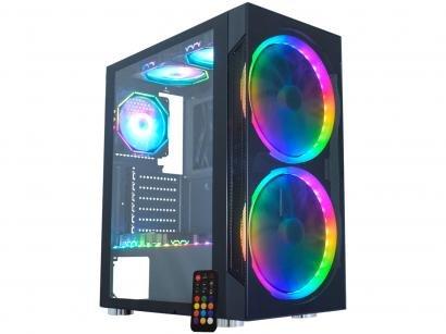 Gabinete Gamer K-Mex Anjo de Combate 3 CG-03A1 - RGB ATX 6 FANs Preto