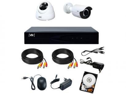 Kit DVR VTV Digital 4 Canais 2 Câmeras Full HD - 1080p 500GB CFTV VTV-01
