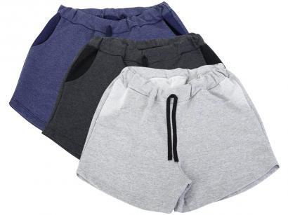 Kit 3 Shorts Básicos Dia a Dia Feminino