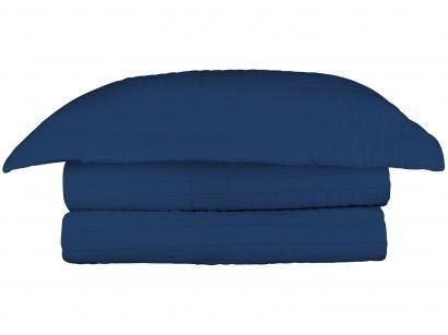 Colcha Queen Camesa 100% Poliéster 150 Fios - Loft Azul 3 Peças