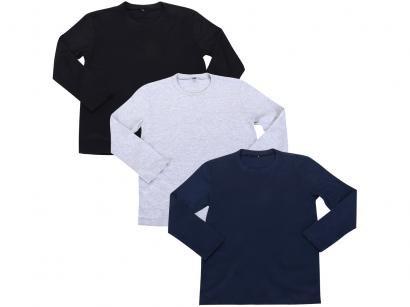 Kit 3 Camisetas Infantil Hering All Free Básica - Masculina Manga Longa