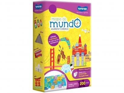 Quebra-cabeça 200 Peças Mapa do Mundo - 2565 Toyster