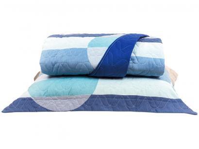 Cobre-leito Queen Santista 100% Algodão - Home Design Spot Azul 3 Peças