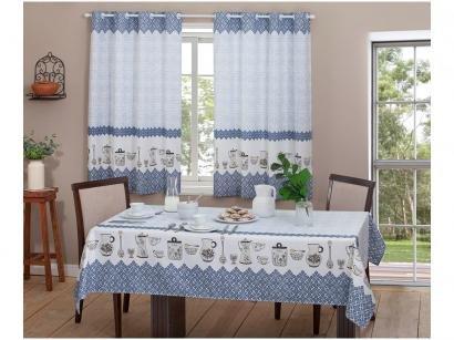 Toalha de Mesa Quadrada Realce - Branca e Azul 145x140cm Casa Alegre 3 Lurdes