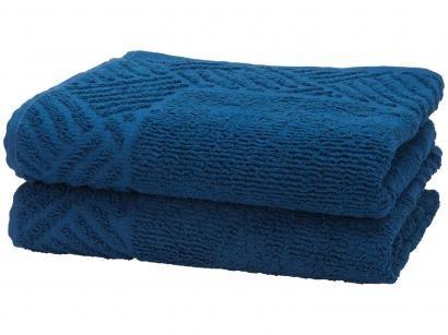 Toalha de Piso Teka Pezinho Azul Anil - 46x70cm 2 Peças