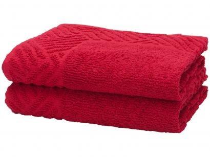 Toalha de Piso Teka Pezinho Vermelho Sangria - 46x70cm 2 Peças