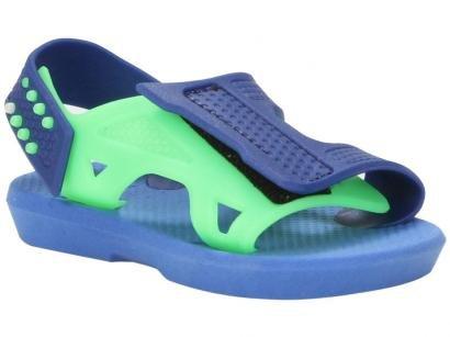 Sandália Infantil Luelua Papete Bicolor Masculina - Azul Royal e Verde
