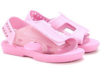 Sandália Infantil Luelua Papete Glitter Feminina - Rosa