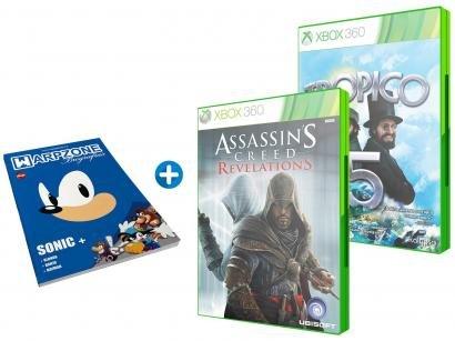 2 Jogos para Xbox 360 - com Livro Biografias Sonic WarpZone