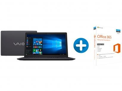 "Notebook Vaio Fit 15S Intel Core i3 4GB 1TB - LCD 15,6"" + Microsoft Office 365..."