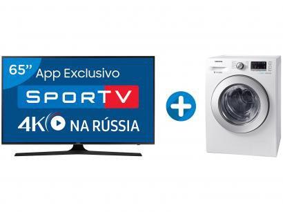 "Smart TV LED 65"" Samsung 4K/Ultra HD 65MU6100 - Conv. Digital + Lava e Seca..."