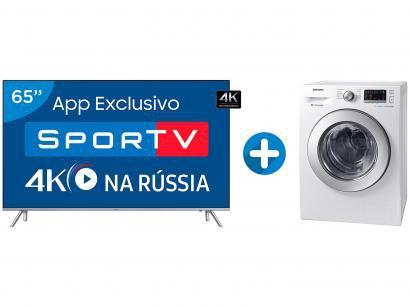"Smart TV LED 65"" Samsung 4K/Ultra HD 65MU7000 - Conv. Digital + Lava e Seca..."