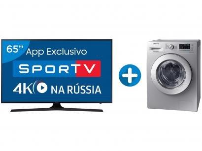 """Smart TV LED 65"""" Samsung 4K/Ultra HD 65MU6100 - Conver. Digital + Lava e Seca..."""