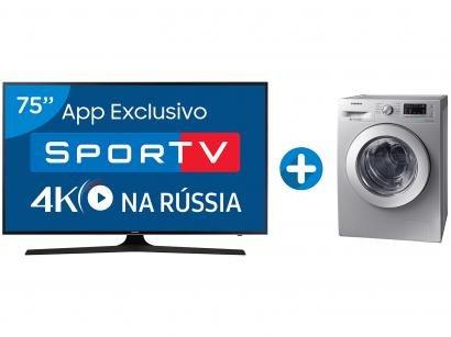 "Smart TV LED 75"" Samsung 4K/Ultra HD 75MU6100 - Conv. Digital + Lava e Seca..."