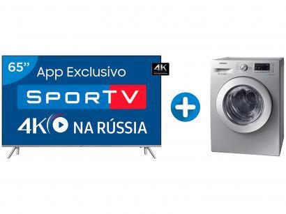 "Smart TV LED 65"" Samsung 4K/Ultra HD 65MU7000 - Conv.Digital + Lava e Seca..."