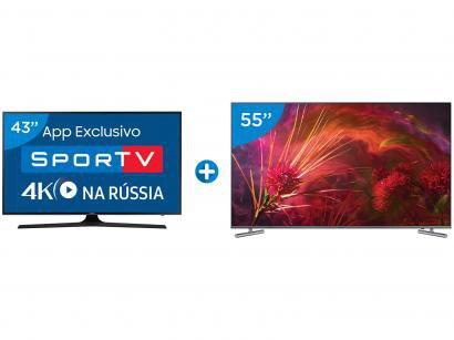 "Smart TV QLED 55"" Samsung 4K/Ultra HD Q6F - Tizen + Smart TV LED 43"" Samsung..."