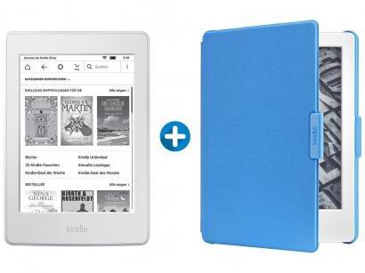 "Kindle 8ª Geração Amazon Tela 6"" 4GB Wi-Fi - Branco + Capa para Kindle 8ª..."