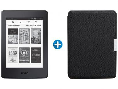 "Kindle Paperwhite Amazon Tela 6"" 4GB Wi-Fi - Luz Embutida Preto + Capa para..."