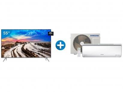 "Smart TV LED 55"" Samsung 4K/Ultra HD 55MU7000 - Conversor Digital Wi-Fi + Ar..."