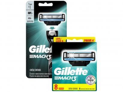 Carga para Aparelho de Barbear Gillette Mach3 - 8 Unidades + Aparelho de...