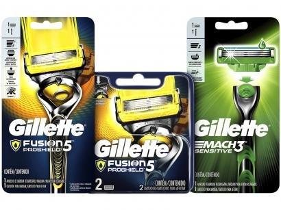 Kit Aparelho de Barbear Gillette Fusion Proshield - 2 Un + Lâmina de Barbear +...