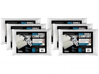 Travesseiro Espuma Viscoelástica - Fibrasca NASA Double Comfort 6 Unidades