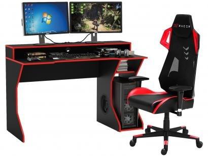 Kit Cadeira Gamer XT Racer Reclinável - Preta e Vermelha + Mesa para Computador