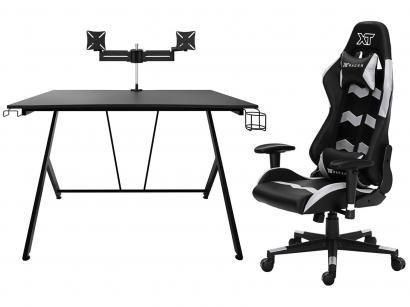 Kit Cadeira Gamer XT Racer Reclinável - + Mesa Gamer com Suporte Articulado p/...