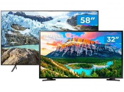 """Smart TV 4K LED 58"""" Samsung UN58RU7100 - Wi-Fi + Smart TV HD LED 32"""" Samsung..."""