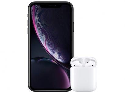 "iPhone XR Apple 64GB Preto 4G Tela 6,1"" Retina - Câmera 12MP + Selfie 7MP com..."