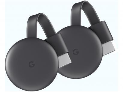Kit com 2 Chromecast 3 Streaming Device Google - Full HD Conexão HDMI