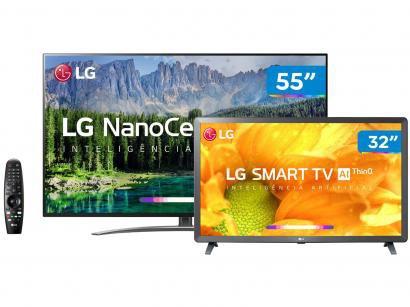 "Smart TV 4K NanoCell 55"" + Smart TV HD LED 32"" LG - Inteligência Artificial..."