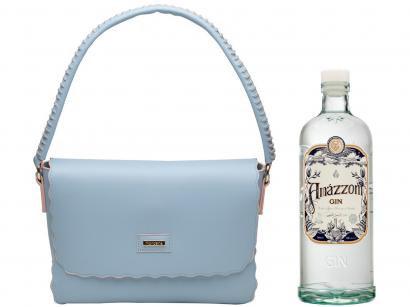 Bolsa Feminina de Ombro Casual Mondaine - Azul + Gin Amázzoni Tradicional 750ml