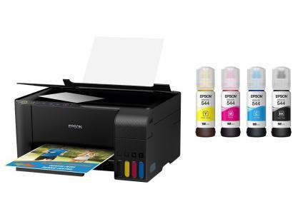 Impressora Multifuncional Epson EcoTank L3150 - Tanque de Tinta Colorida + 04...