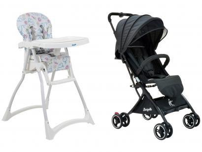 Carrinho de Bebê Burigotto IT para Crianças até - 15kg + Cadeira de Alimentação Burigotto Merenda