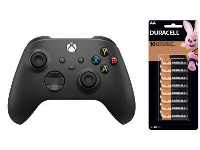 Controle para Xbox Series sem Fio Carbon Black - Preto + Pilha AA Pequena 16 Unidades Duracell