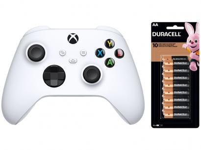 Controle para Xbox Series sem Fio Robot White - Preto + Pilha AA Pequena 16 Unidades Duracell